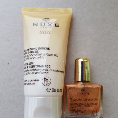 NUXE After Sun Hair Body Shampoo + NUXE Huile Prodigieuse Golden Shimmer Multi Usage Dry Oil, МИНИАТЮРЫ НОВЫЕ.